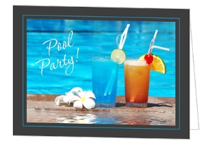Poolside Drink Pool Party Invitation