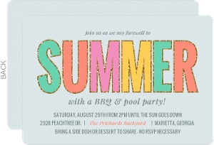 Colorful Glitz End Of Summer Party Invitation