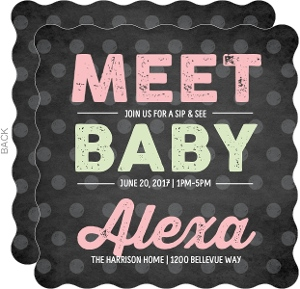 Chalkboard Type Sip and See Baby Girl Shower Invitation