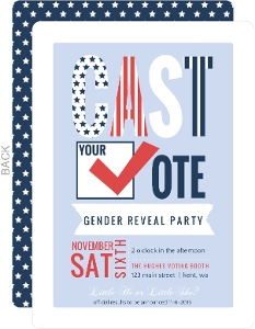 Cast Your Vote Patriotic Gender Reveal Party Invitation