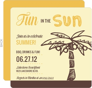 Orange And Brown Palm Tree Summer Party Invitation