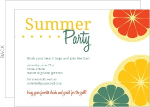Colorful Citrus Fruit Summer Party Invitation