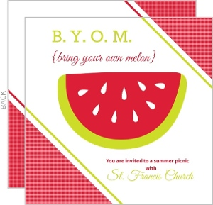 Red Watermelon Summer Picnic Invitation
