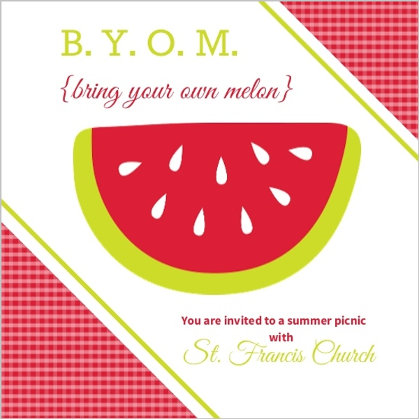 Red Watermelon Summer Picnic Invitation  Summer Party Invitations