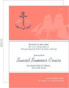 Coral And Navy Anchor Sailing Summer Party Invitation