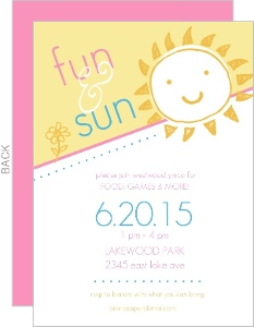 Yellow And Pink Sun And Fun Summer Party Invite
