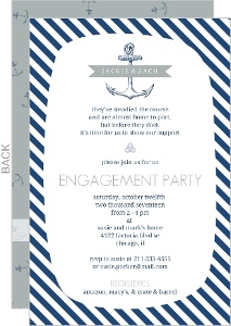 Nautical Stripes and Anchor Engagement Party Invitation