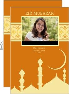 Orange Mosque Photo Eid Greeting Card