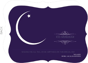 Purple Night Sky Crescent Moon Eid Card