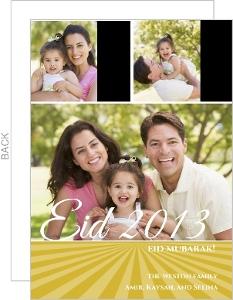 Gold Sunrise Three Photo Eid Card