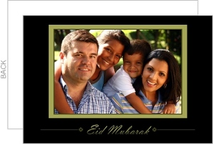 Black And Gold Photo Eid Greeting Card