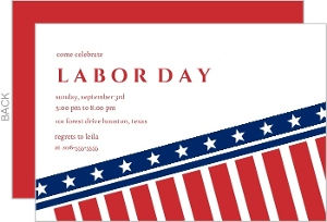 Red And Blue Stars And Stripes Labor Day Invitation
