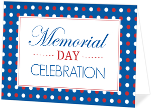Polka Dot Patriotic Memorial Day Invitation
