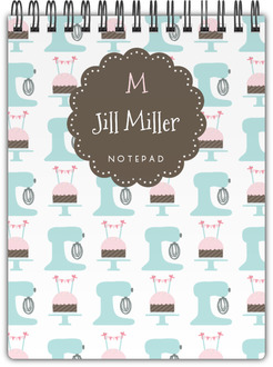 Mixer and Cupcake Pattern Notepad