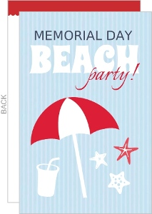 Blue And Red Memorial Day Beach Party Invitation
