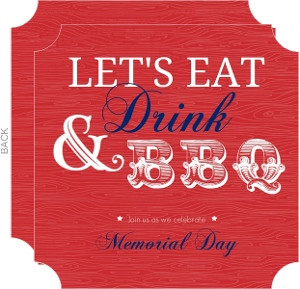 Red Modern Eat Drink And Bbq Memorial Day Invitation