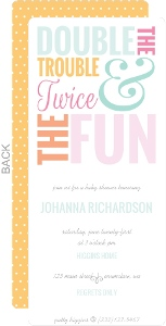 Colorful Twice The Fun Twin Baby Shower Invitation