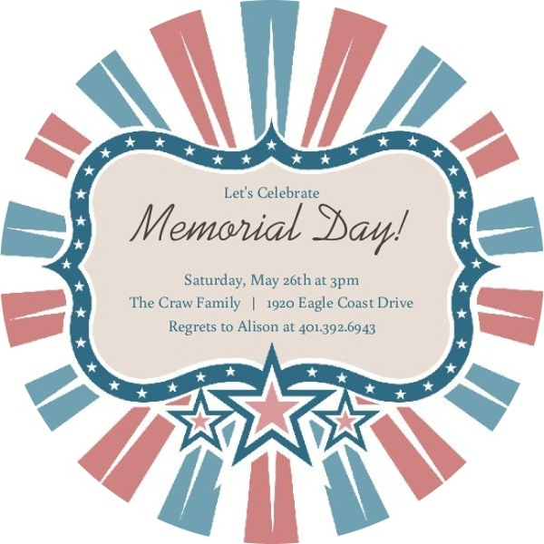 Red and Blue Star Frame Memorial Day Invitation