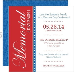 Red And Blue Bar Stars Memorial Day Invitation