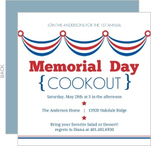 Waving Flags Memorial Day Invitation