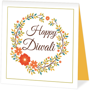 Orange Florals Diwali Photo Card