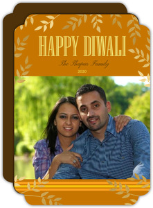 Golden Leaves Photo Diwali Greeting Card