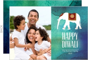 Ganesha Patterned Photo Diwali Greeting Card