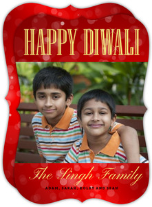 Sparkling Red Diwali Greeting Card
