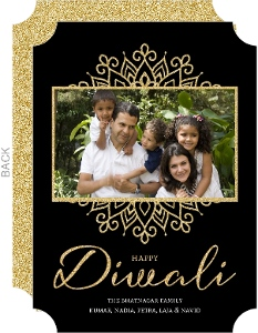 Black And Gold Glitter Diwali Photo Card