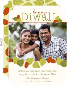 Green & Orange Foliage Diwali Photo Card