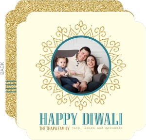 Stripes And Circles Green Photo Diwali Greeting Card