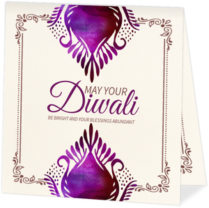 Floral Typographic Happy Diwali Card