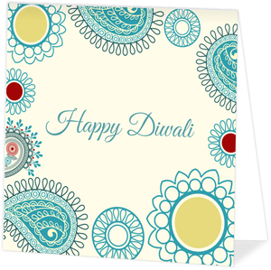 Circle Pattern Blue Diwali Greeting Card