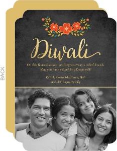 Black and Fall Floral Diwali Greeting Card