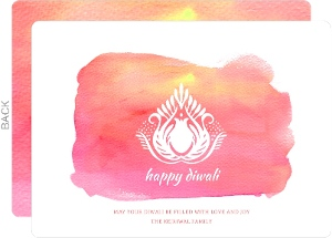 Pink Lotus Diwali Greeting Card