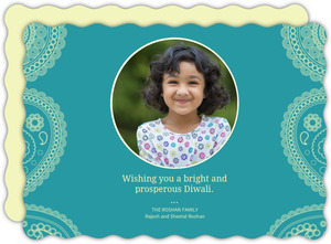 Light Blue Paisley Diwali Photo Card