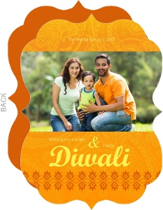 Mehndi Yellow Diwali Photo Greeting Card