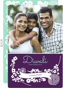 Purple And Green Festive Diwali Card