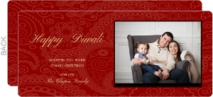 Beautiful Red Paisley Diwali Card