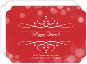 Red Ornate Diwali Greeting Card