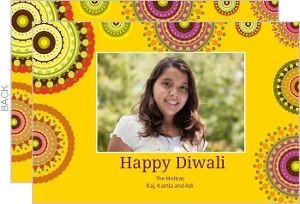Bright Rangoli Photo Diwali Greeting Card