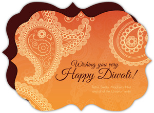 Orange Paisley Diwali Greeting Card