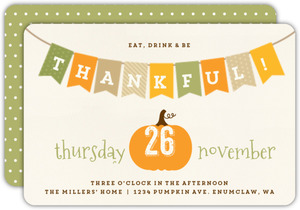 Simple Autumn Banner Thanksgiving Invitation