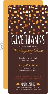 Orange And Brown Confetti Thanksgiving Invitation