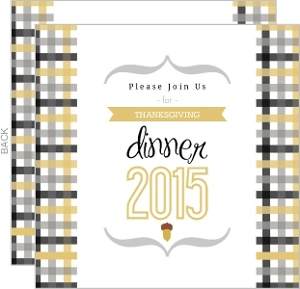 Modern Plaid Acorn Thanksgiving Invitation