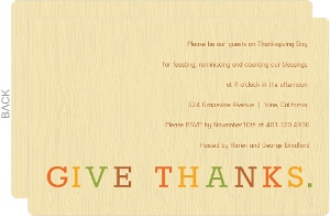 Colorful Give Thanks Thanksgiving Invitation