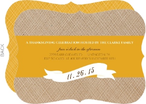 Simple Banner And Golden Stripe Thanksgiving Invitation