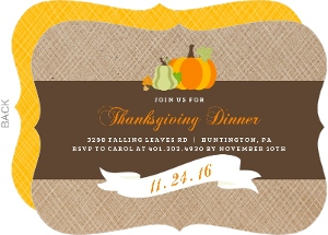 Simple Banner and Pumpkin Thanksgiving Invitation