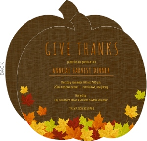 Pile Of Fall Leaves Thanksgiving Invitation