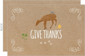 Deer Give Thanks Thanksgiving Card
